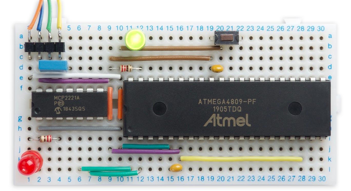 Technoblogy - Minimal ATmega4809 on a Breadboard