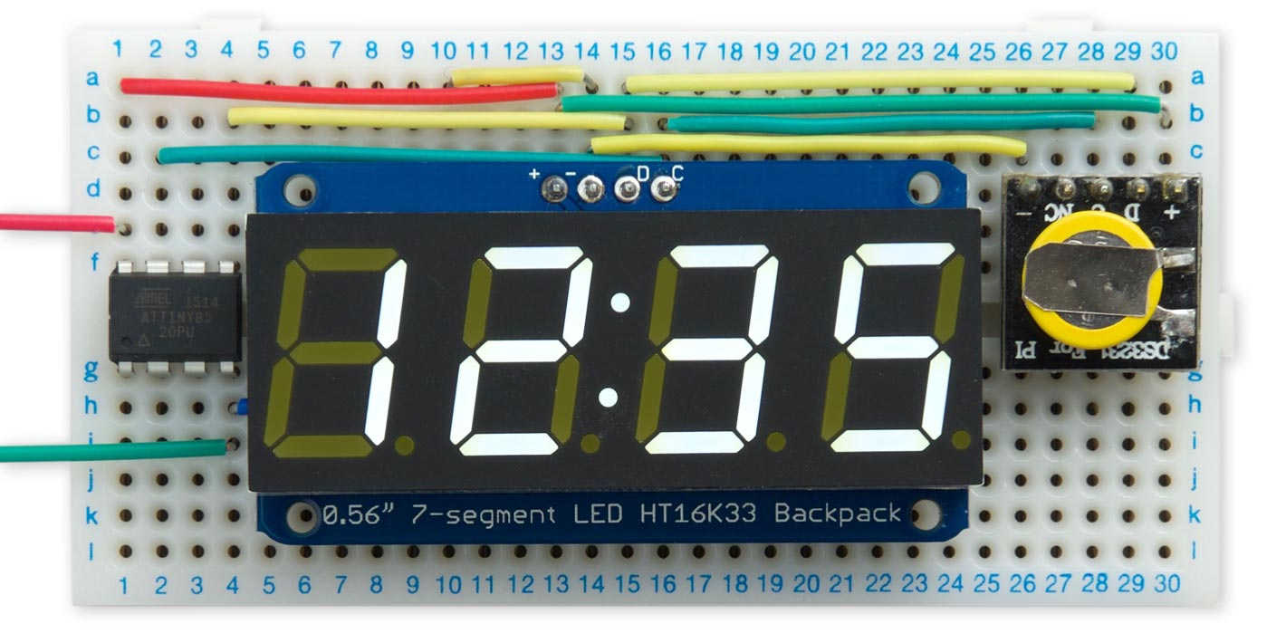 Technoblogy Minimal Tiny I2c Routines Led Clock Using Pic Microcontroller As An Example Of Their Use Ive Designed A Digital Circuit Based On Attiny85 Connected To Rtc Module And Driving 7 Segment Display