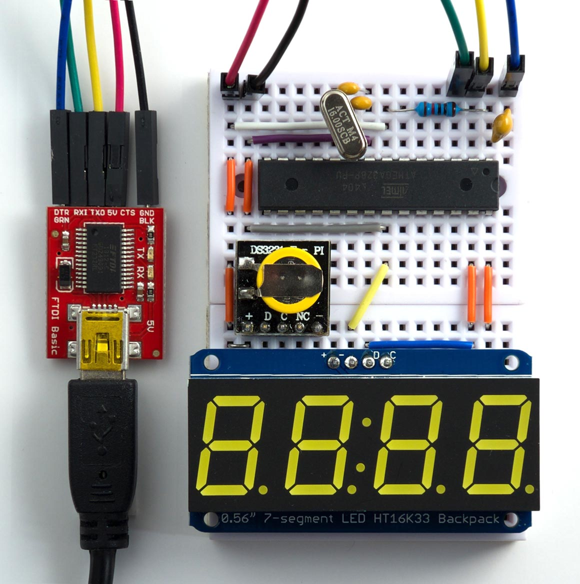 Technoblogy Digital Clock Using Lisp 7 Segment Circuit Diagram Connecting The To Arduino Ide Via An Ftdi Usb Serial Converter